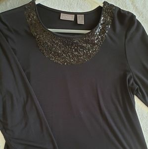 Chicos Black sequined top, size small